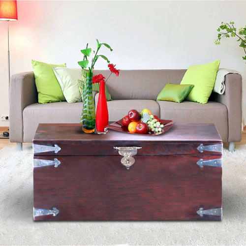 Solid Wood Maharaja Storage Trunk Coffee Table Mynesthome Dot Com