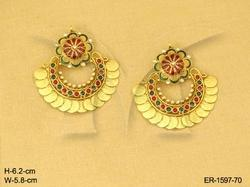 Laxmi Ji Flower Bridal Temple Jewellery Earrings