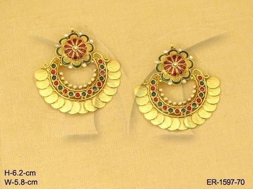 996ba318f57ca Laxmi Ji Flower Bridal Temple Jewellery Earrings