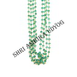 Emerald Rondell Faceted Stone Chain