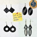 Zinc Alloy Rectangle Handmade Silver Engraved Black Metal Jewellery Earrings, Size: 3.8 (l) X 2.0 (w) Cms