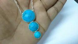 Turquoise Bezel set Gemstone Silver Necklace