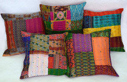 Vintage Silk Kantha Patchwork Cushion Covers
