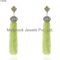 Peridot Gemstone Diamond Tassel Earrings