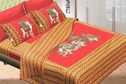 Superieur Jaipuri Pure Cotton 3 Piece Double Bed Sheet Set