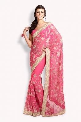 371a9b59e8d20 Faux Chiffon Saree With Velvet And Opaque Sequins - A0103053 ...
