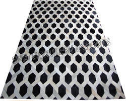 Black And White SGE Leather Hide Patchwork Carpet