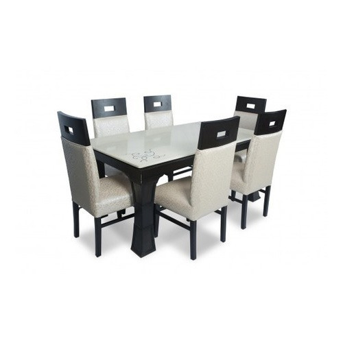 Teak Wood Glass 6 Seater Dining Table Size Dimension 66 X 36 X 30 L X W X H Rs 49000 Set Id 10348175555