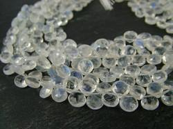 Rainbow Moonstone Faceted Heart Briolettes Strand
