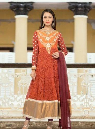 e4b499acb2 Salwar Kameez - Rust Faux Georgette and Art Silk Readymade Anarkali ...