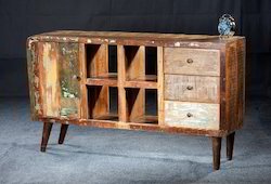 Recycled Wood Retro Style Side Board Tv Cabinet