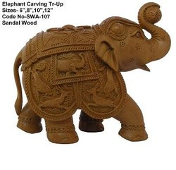 Sandalwood Animal Carving & Elephant