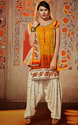 Off White Orange Patiala Suit