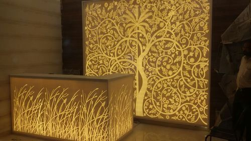 Excitech Golden Corian Backlit Wall Panel For Residential