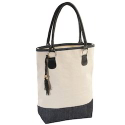 Off White and Black Plain Denim Canvas Bag, Size: 48 x 35 x 12 cm