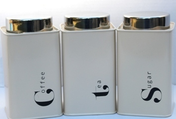 Ivory Powder Coated Tea Coffee And Sugar Canisters Set Of 3