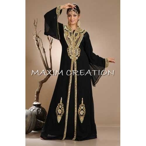 04abd517ab1f Georgette Black Traditional Arabic Kaftan Maxi Dress, Rs 3250 /piece ...