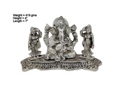White Metal Silver Plated Ganesha with Riddhi Siddhi