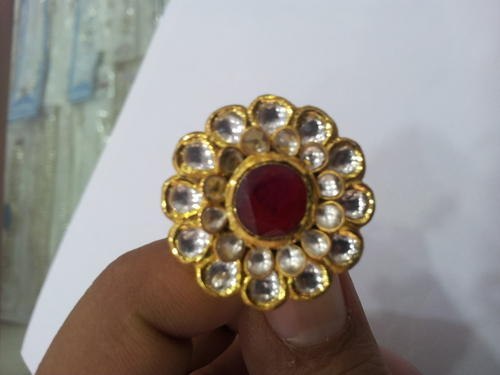 22k Gold Kundan Cocktail Ring Swarn Jewels
