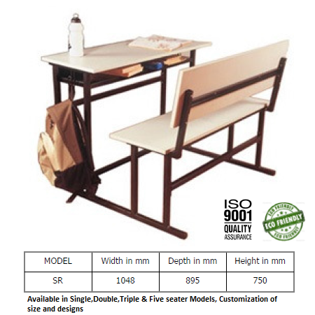 Sr Model Modular Desks Benches, What Is The Size Of A School Desk