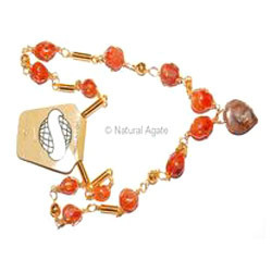 Natural Agate Akik Stone Necklace Golden Cage