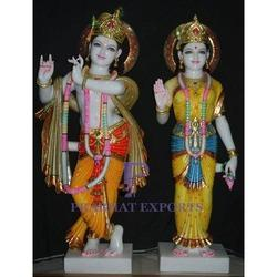 Gold Plated Colorful Marble Radha Krishna Statue