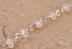 Wire wrapped Beaded Chian in Sterling Silver 925