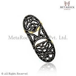 Pave Setting Sterling Silver Diamond Rings