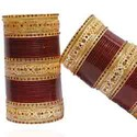 Party Brass Golden Maroon Studded Bridal Chura