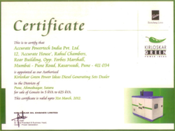 Authorisation Certificate from Kirloskar