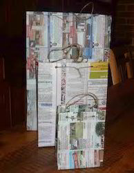 Multicolor News Paper Bags made from Old News Papers for  Shopping,, Packaging Type: Custom, Capacity: 500gm