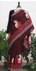 hand block printed chanderi saree