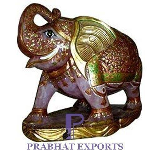 Semi Precious Elephant Stone Statue