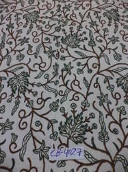 Cotton Dosuti  Hand Embroidered Chinar Design Crewel Fabric