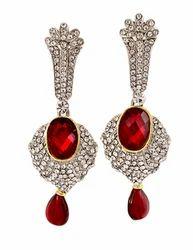 Silver Plated Diamond & Ruby Long Earrings