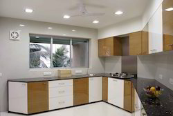 Modular Kitchen L Shaped with High Glassed Finish