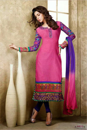 Designer Chanderi Silk Suits - View Specifications & Details of ...