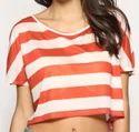 Orange and White Crop N Stripe