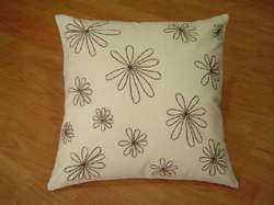 Off White Flower Cushion Cover