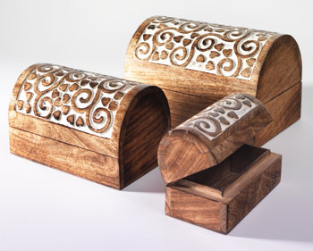 Carved Wooden Box Set Wooden Boxes Pilkhan Tala Saharanpur