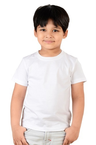 373a3bd08 Kid s White Round Neck T-Shirt Half Sleeve at Rs 130 unit(s ...