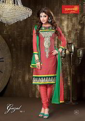 Unstitched Print Embroidery Suit