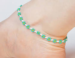 Sterling Silver 2mm/3mm Beaded Anklet With Sterling Silver Moon ...