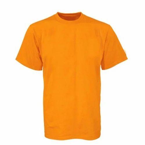 8802f9ea2db Cotton Round Neck Plain Orange T-Shirt