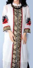 White Georgette Buddha Embroidery Long Kurta
