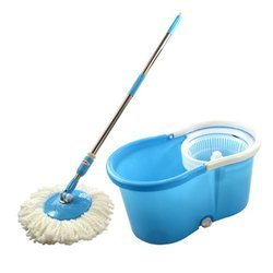 Yellow 360 Spin Plastic Mop Bucket Trolley, Cart Size: 45 Litres, Bucket Capacity: 34 Litres