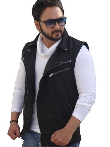 Mens Jacket T Shirts - White T Shirt with Black Sleeveless Jacket