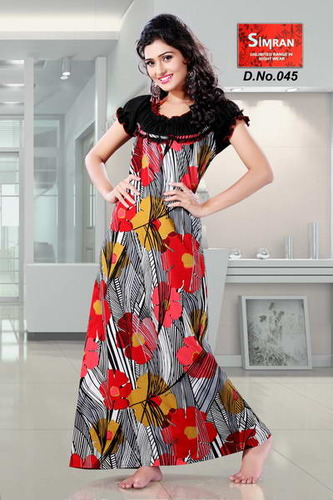 2290149359 Ladies Satin Printed Nighties, Rs 599 /piece, Simran Nightwear | ID ...