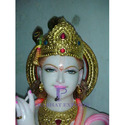 Gold Plated Marble Krishna Statue