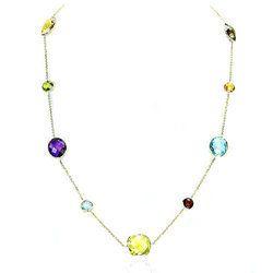 Multi Bezel Set Gemstone Necklace